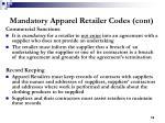 mandatory apparel retailer codes cont