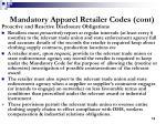 mandatory apparel retailer codes cont13