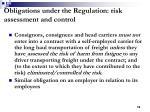 obligations under the regulation risk assessment and control