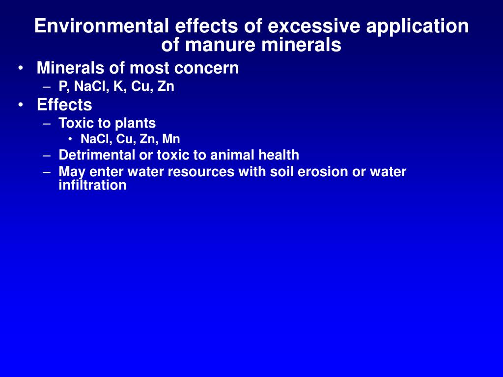 Environmental effects of excessive application of manure minerals