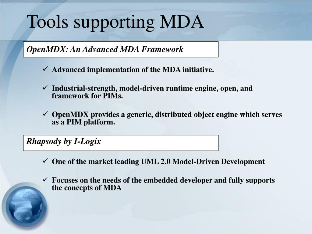 Tools supporting MDA