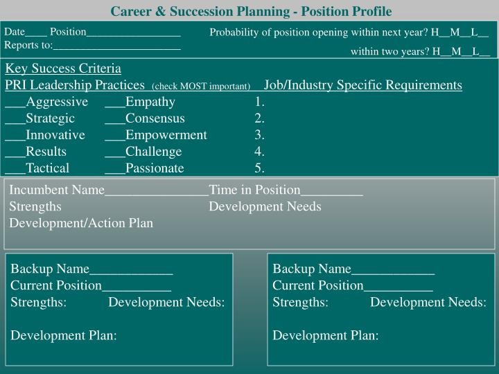 Career & Succession Planning - Position Profile