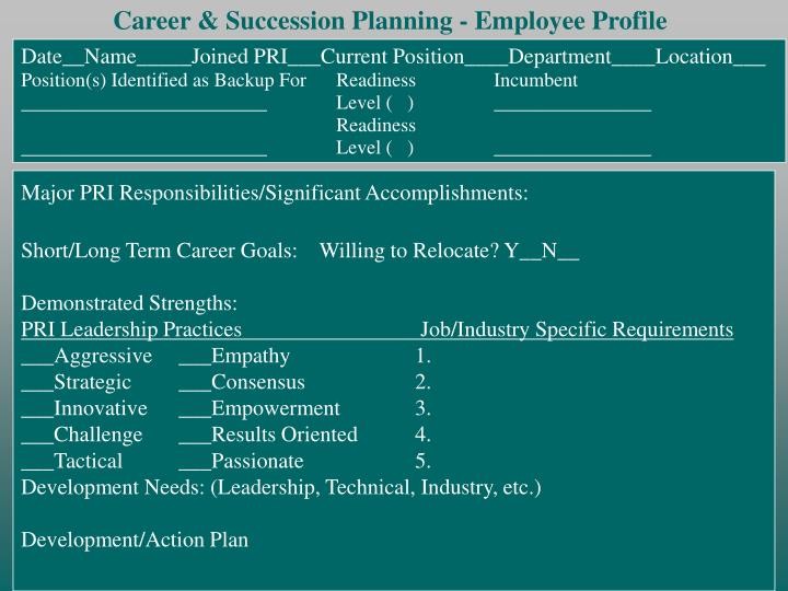 Career & Succession Planning - Employee Profile