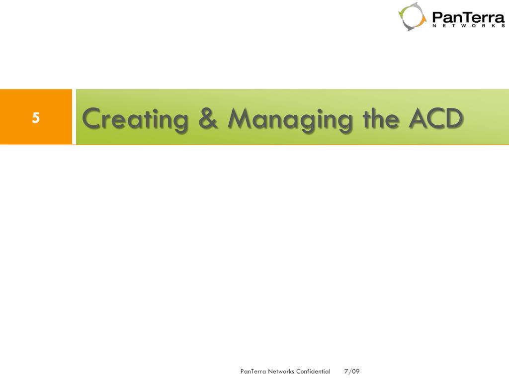 Creating & Managing the ACD