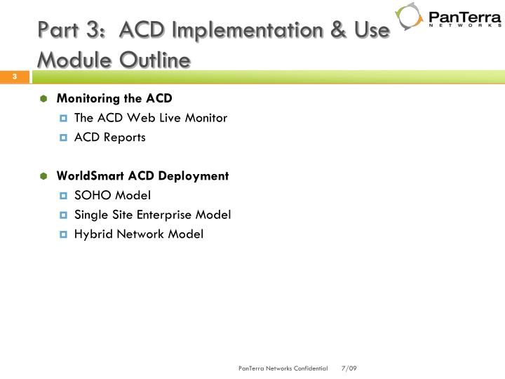 Part 3:  ACD Implementation & Use