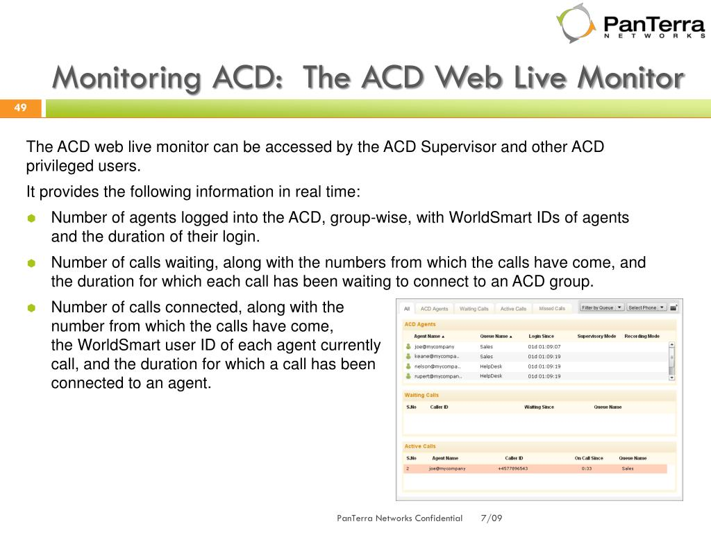 Monitoring ACD:  The ACD Web Live Monitor