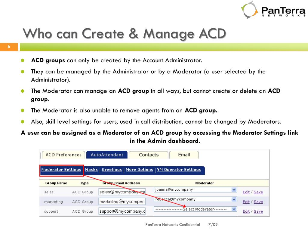 Who can Create & Manage ACD
