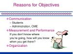 reasons for objectives