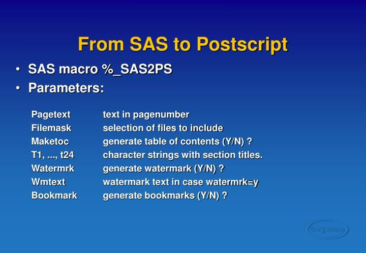 From SAS to Postscript