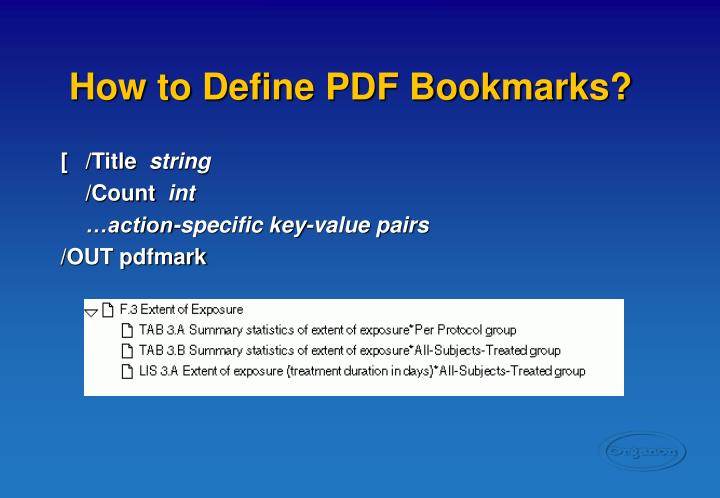 How to Define PDF Bookmarks?