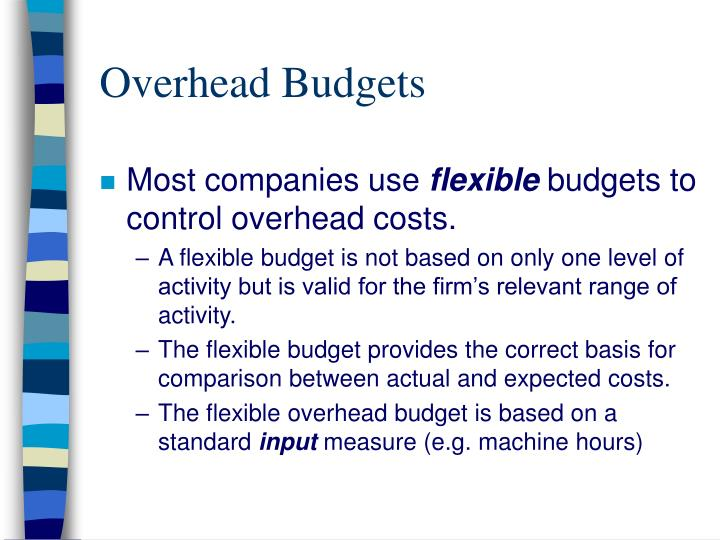 overhead budgets n.