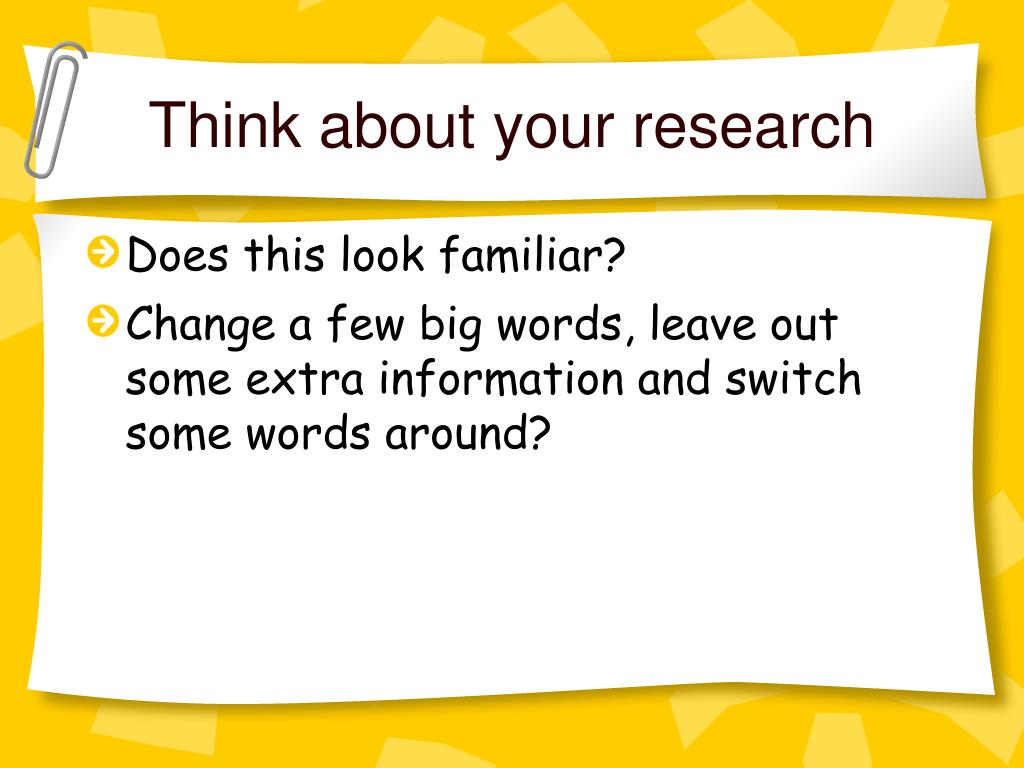 Think about your research