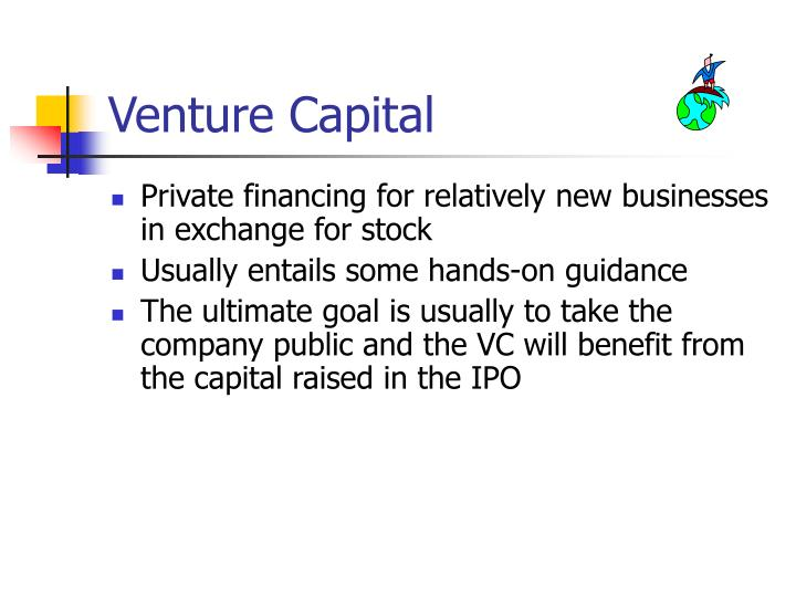 venture capital financing essay Venture capital financing in real estate schemes are typically at land cost stage, ie, a fund devotes and join forces with developers/landlords from beginning till the end of the project besides the geographical spread of reserves, the finance capitalizes on both the early mover plus as well as reaps the paybacks of economies of scale in.