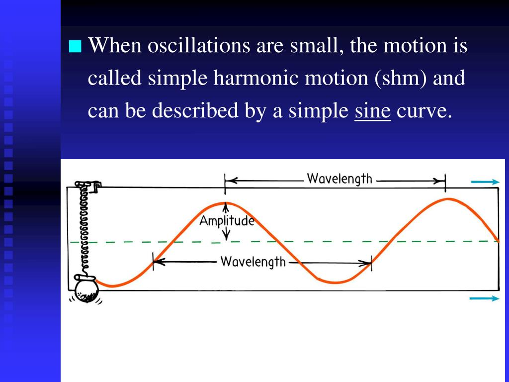 When oscillations are small, the motion is called simple harmonic motion (shm) and can be described by a simple