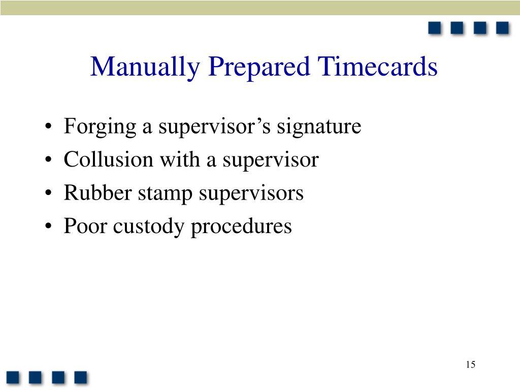 Manually Prepared Timecards