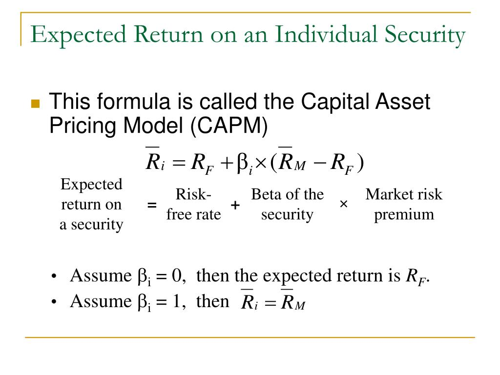 Expected return on a security