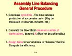 assembly line balancing general procedure