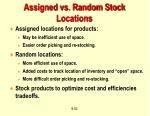 assigned vs random stock locations