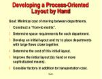 developing a process oriented layout by hand