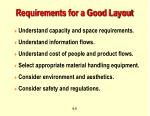 requirements for a good layout