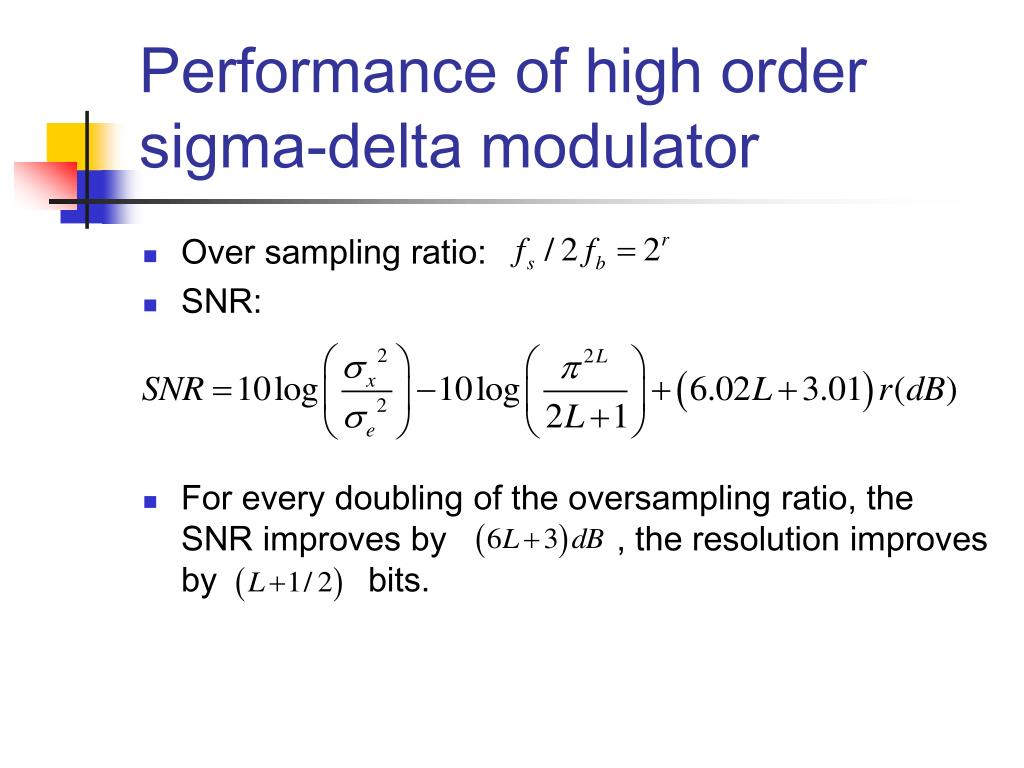 Performance of high order sigma-delta modulator