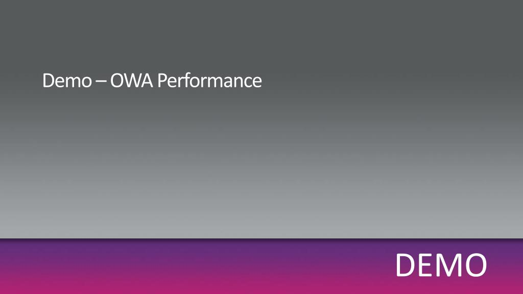 Demo – OWA Performance