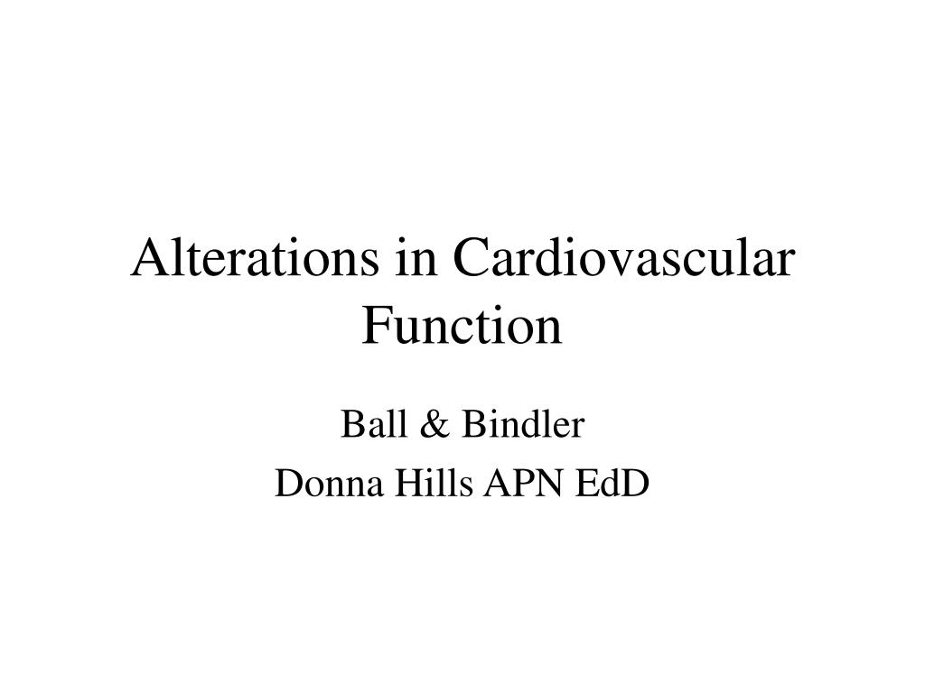 Ppt Alterations In Cardiovascular Function Powerpoint Presentation