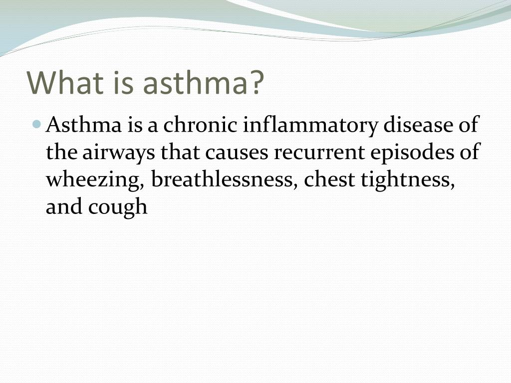 what is asthma Asthma is a chronic lung disease that inflames and narrows the airways.