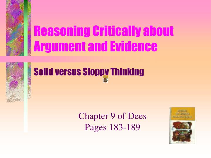 reasoning critically about argument and evidence n.