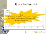q as a function of l
