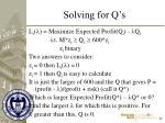 solving for q s