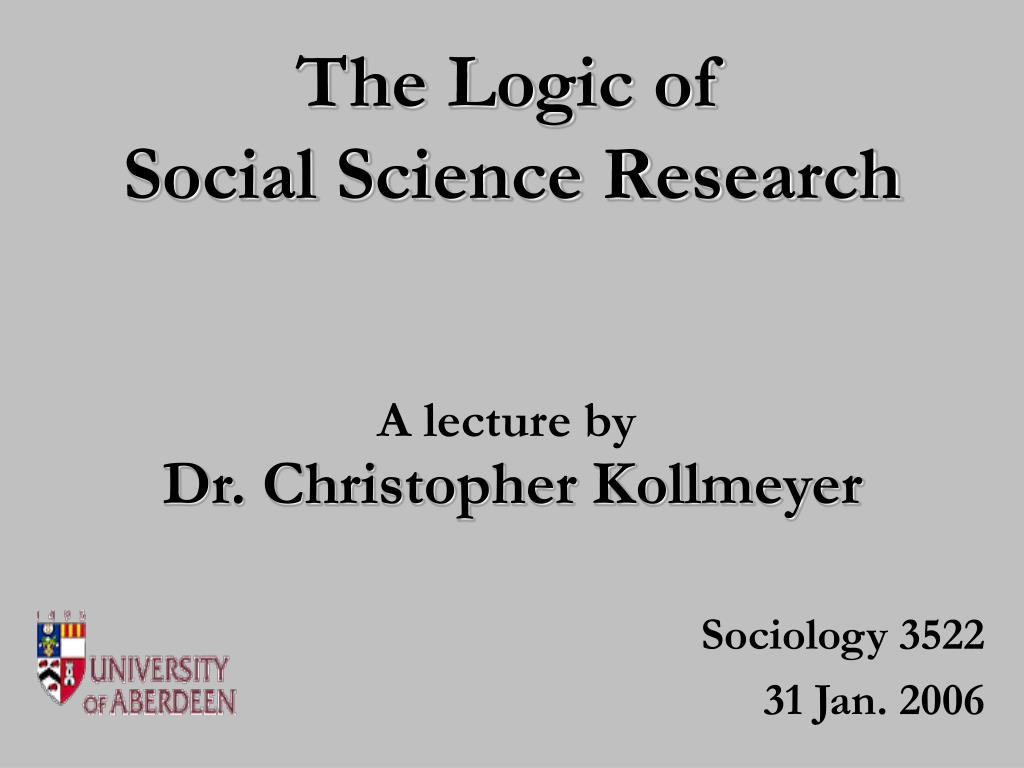 the logic of social science research l.