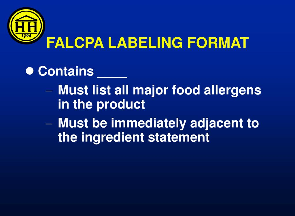 PPT - Food Allergy Labeling and Consumer Protection Act