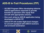 ads b in trail procedures itp