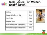 beverages other than milk juice or water staff drink