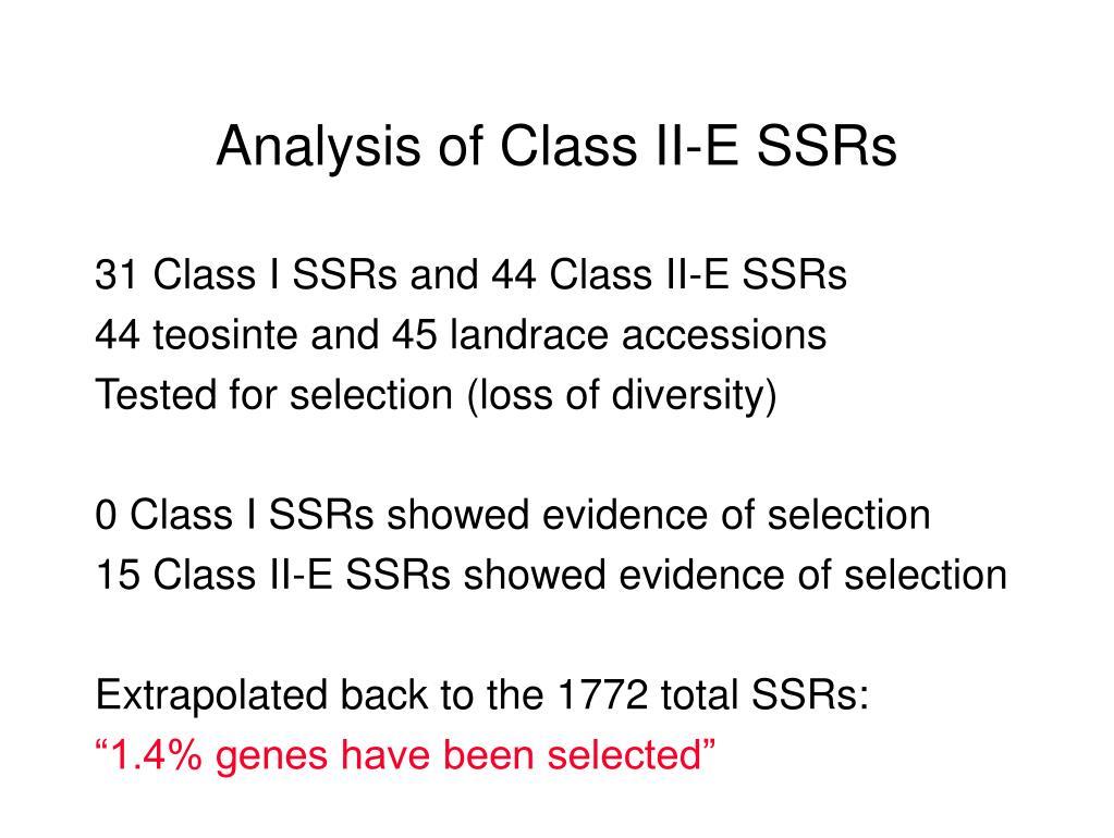 Analysis of Class II-E SSRs