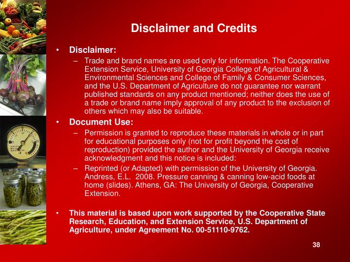 Disclaimer and Credits