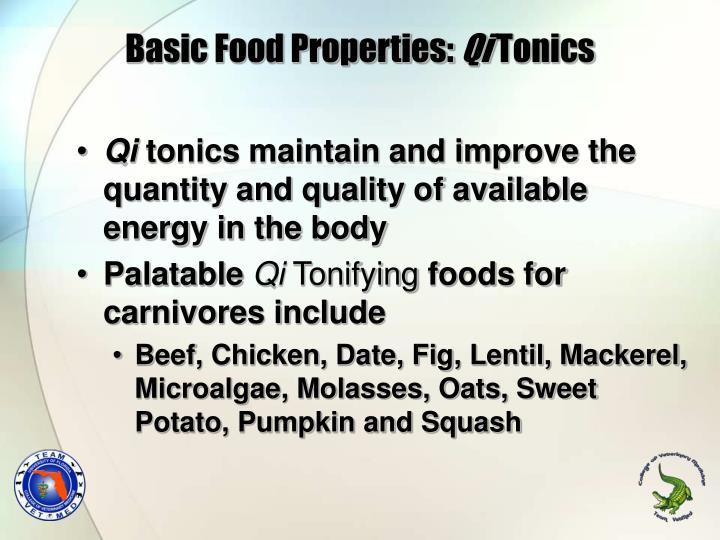 Basic Food Properties: