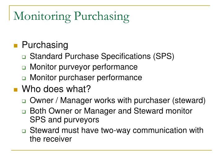Monitoring Purchasing