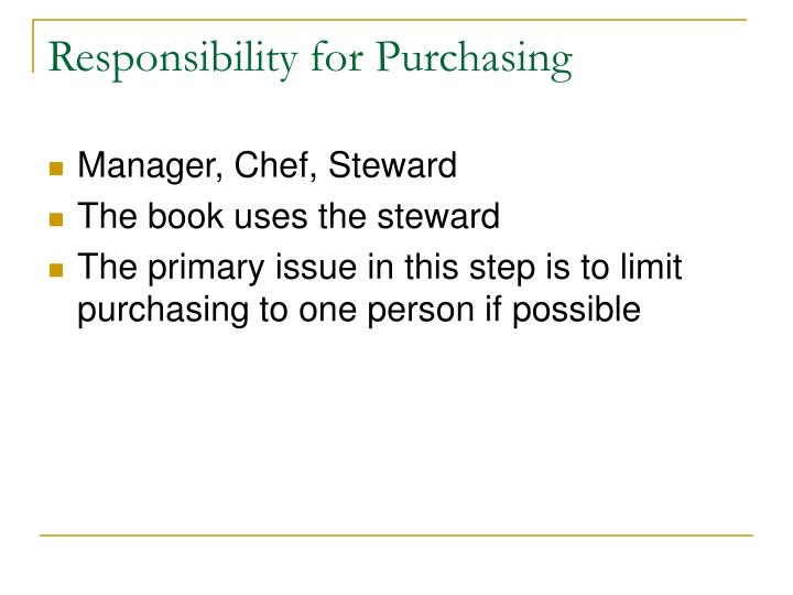 Responsibility for Purchasing