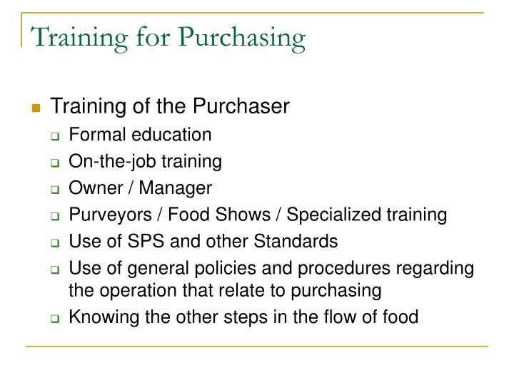 Training for Purchasing