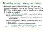 emerging issues across the sectors