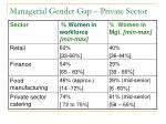 managerial gender gap private sector