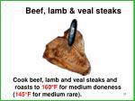 beef lamb veal steaks