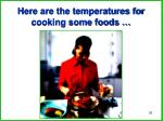 here are the temperatures for cooking some foods