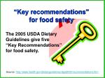 key recommendations for food safety