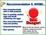 recommendation 5 avoid