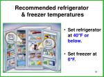 recommended refrigerator freezer temperatures