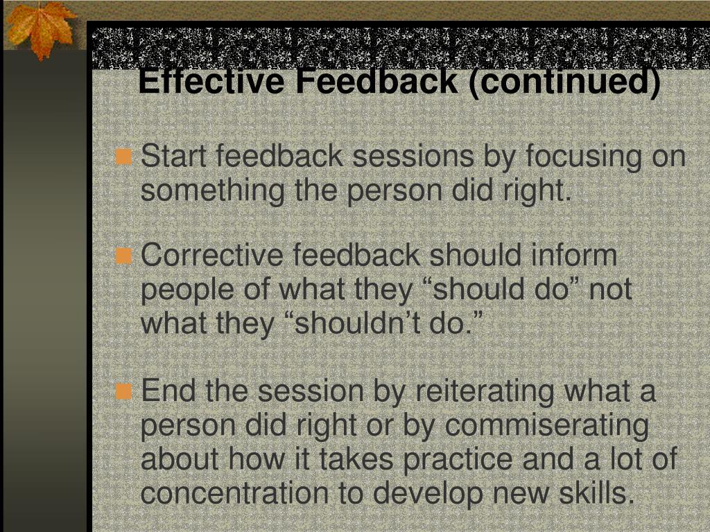 Effective Feedback (continued)
