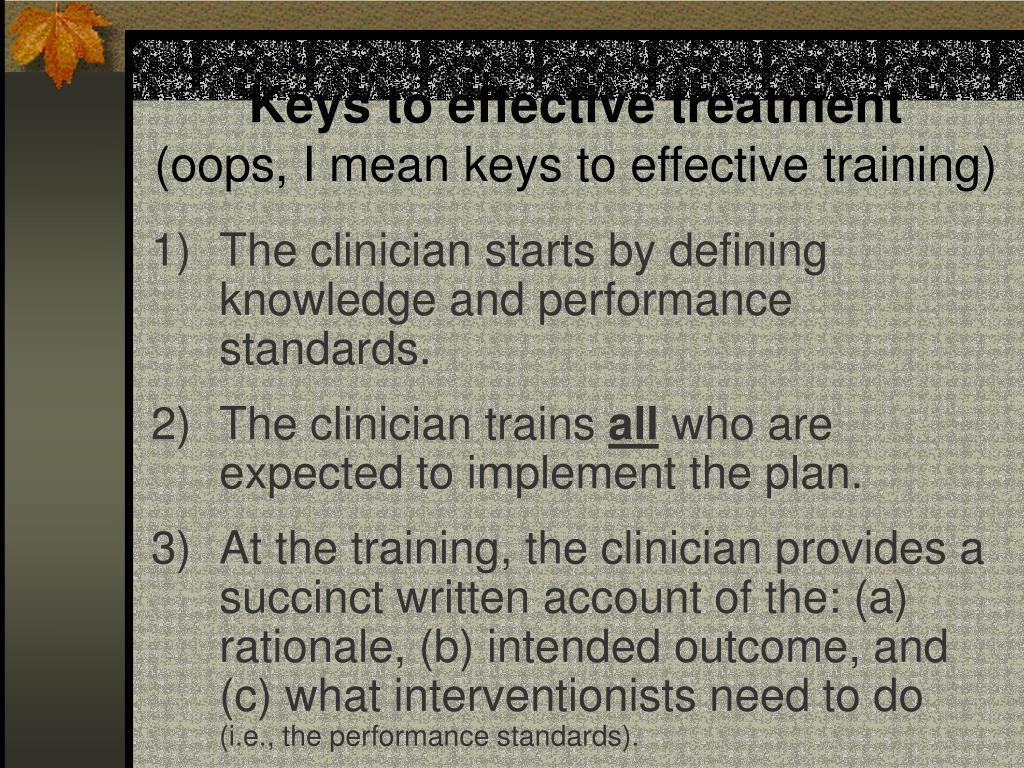 Keys to effective treatment